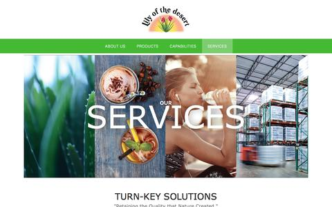 Screenshot of Services Page lilyofthedesert.com - SERVICES - Lily of the Desert - captured July 20, 2018