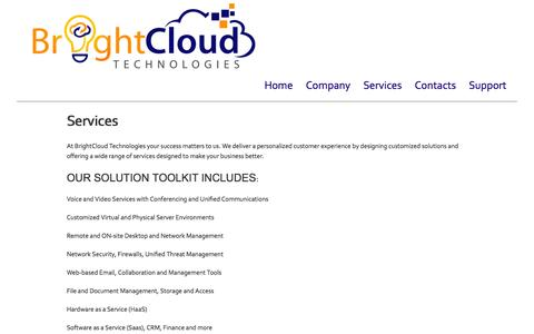 Screenshot of Services Page atlantaofficesolutions.com - Services | Bright Cloud Technologies - captured Nov. 2, 2014