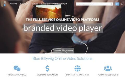 Screenshot of Home Page bluebillywig.com - Video Platform for Business - captured July 13, 2019