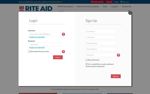 Screenshot of Login Page riteaid.com - Rite Aid Pharmacy - With Us, It's Personal - captured April 17, 2018