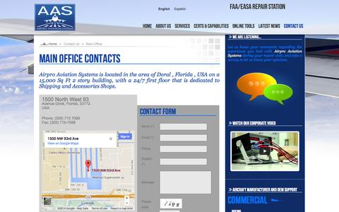 Screenshot of Contact Page airproaviation.com - Main Office Contacts - captured Oct. 4, 2014