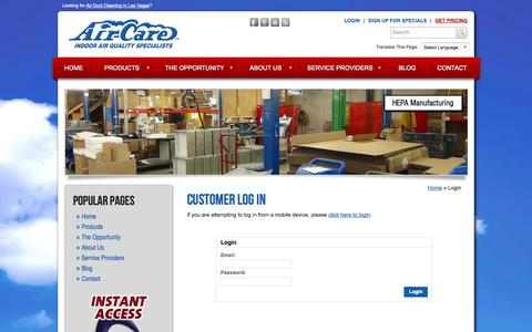 Screenshot of Login Page air-care.com - Login To Our Online Ordering System - Air-Care - captured Oct. 29, 2014