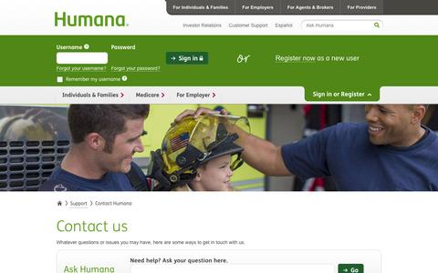 Screenshot of Contact Page humana.com - Health Insurance Advisors Can Help You with Your Insurance Needs - captured Dec. 10, 2015