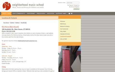 Screenshot of Contact Page Locations Page neighborhoodmusicschool.org - Locations & Contacts  | Neighborhood Music School - captured Oct. 26, 2014