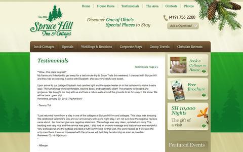 Screenshot of Testimonials Page sprucehillinn.com - Testimonials - Spruce Hill Inn - captured Oct. 6, 2014