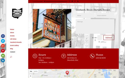 Screenshot of Contact Page mainstreetbooksmansfield.com - Contact | Main Street Books Mansfield - captured Sept. 29, 2017