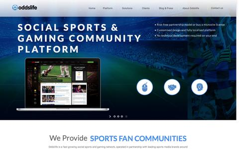 Screenshot of Home Page oddslife.com - Oddslife � ENHANCING THE WAY SPORTS MEDIA COMPANIES ENGAGE SPORTS FANS - captured Jan. 12, 2016