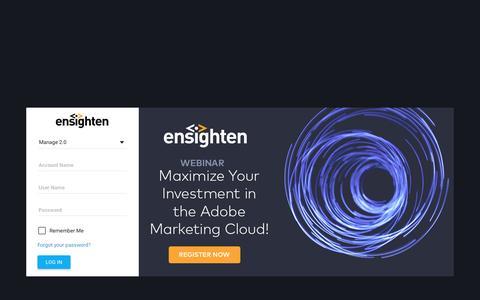 Screenshot of Login Page ensighten.com - Ensighten Manage - captured March 7, 2017