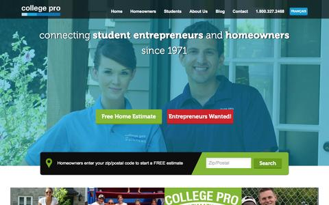 Screenshot of Home Page collegepro.com - House Painters, College Painters, Student Painting | College Pro - captured Oct. 10, 2014