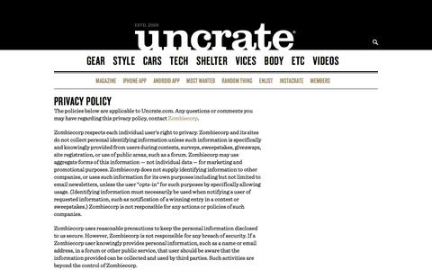 Privacy | Uncrate