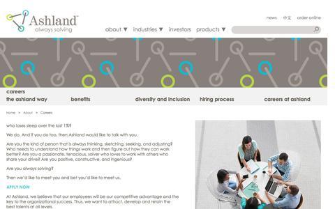 Screenshot of Jobs Page ashland.com - Ashland | Careers - captured Jan. 4, 2017