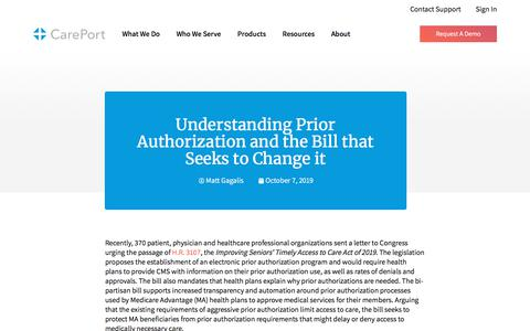 Screenshot of Blog careporthealth.com - Understanding Prior Authorization and the Bill that Seeks to Change it - Careport Health - captured Feb. 20, 2020