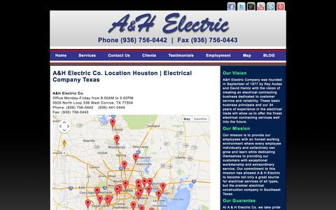Screenshot of Maps & Directions Page ahelectric.com - A & H Electric Co. Location Houston | Electrical Company Texas - captured Sept. 30, 2014