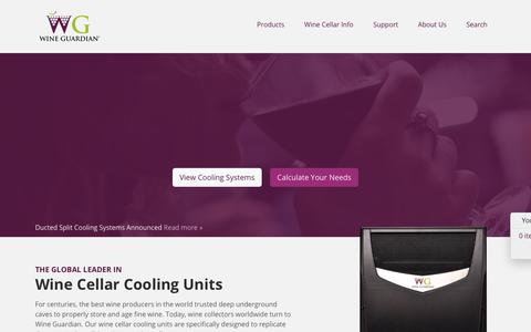 Screenshot of Home Page wineguardian.com - Wine Cellar Cooling Units from Wine Guardian - captured Nov. 18, 2018