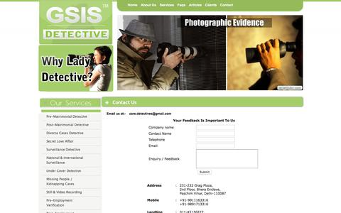 Screenshot of Contact Page gsisdetective.com - Detective In Bhopal- Detective Agency In Bhopal- Private Detectives Agency In Bhopal - captured Dec. 15, 2015