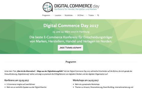 Screenshot of Home Page digital-commerce-day.de - Der Digital Commerce Day: E-Commerce-Konferenz und Netzwerk für Handel, Hersteller und Marken. - captured Jan. 24, 2017
