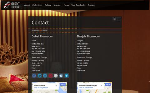 Screenshot of Contact Page gusto-furniture.com - Contact Us | Contact Gusto Furniture - Gusto Furniture | Timeless Classics - captured Sept. 30, 2014