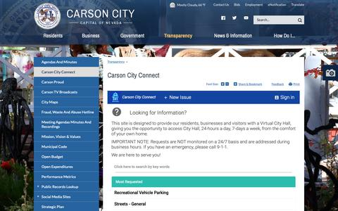 Screenshot of FAQ Page carson.org - Carson City Connect | Carson City - captured Oct. 28, 2018