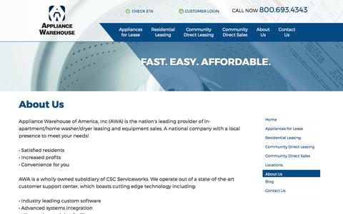 Screenshot of About Page appliancewhse.com - Appliance Warehouse of America, Inc - Your In-Apartment Home Laundry Leasing Source - captured Oct. 8, 2017