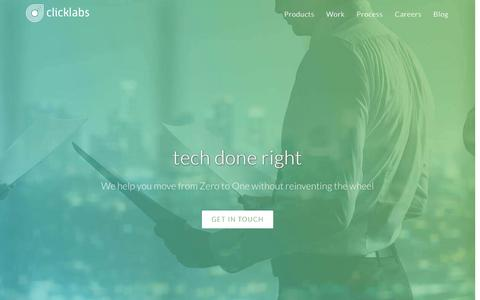 Screenshot of Home Page click-labs.com - Click Labs | tech done right - captured July 13, 2016