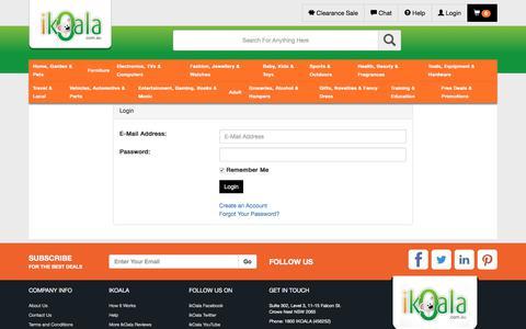 Screenshot of Login Page ikoala.com.au captured Oct. 16, 2017