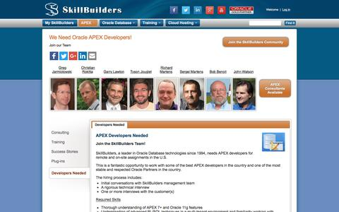 Screenshot of Developers Page skillbuilders.com - Oracle APEX Developers Required - Job Applications - captured Aug. 14, 2016