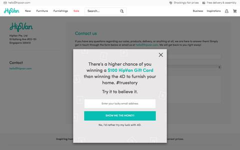 Screenshot of Contact Page hipvan.com - Contact Us | HipVan - captured Sept. 9, 2017