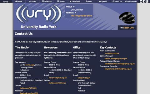 Screenshot of Contact Page ury.org.uk - University Radio York - Contact Us - captured Oct. 26, 2014
