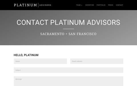 Screenshot of Contact Page platinumadvisors.com - Contact | Platinum Advisors - captured July 19, 2018