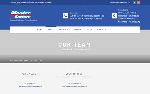 Screenshot of Team Page masterbattery.com - Our Team | Master Battery - captured Sept. 20, 2018
