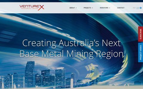 Screenshot of Home Page venturexresources.com - Venturex Resources (ASX:VXR) - Building a Mid-Tier Base Metals Business - captured Nov. 18, 2018