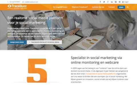 Screenshot of Services Page tracebuzz.com - Social marketing strategie met rendement via Tracebuzz - captured Oct. 29, 2014