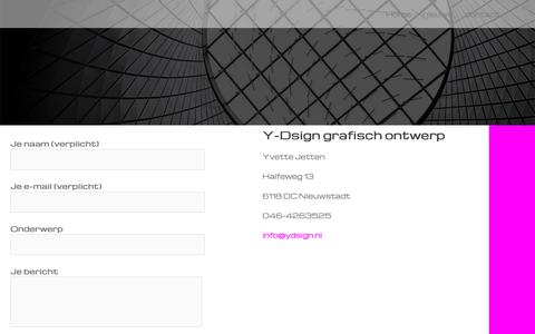 Screenshot of Contact Page ydsign.nl - contact - - captured Oct. 1, 2018