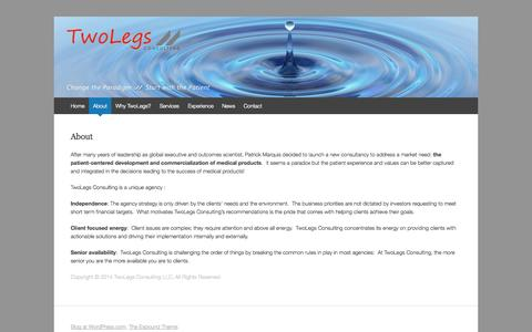 Screenshot of About Page twolegs-consulting.com - About | TwoLegs  Consulting - captured Oct. 7, 2014