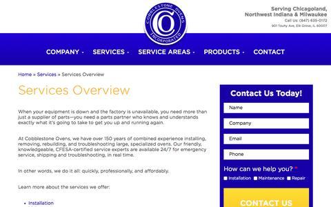 Screenshot of Services Page cobblestoneovens.com - Commercial Oven Services Overview - Cobblestone Ovens Inc. - captured Nov. 8, 2016