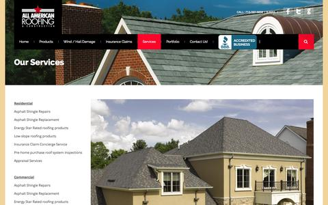 Screenshot of Services Page allamericanroofingandconstruction.com - All American Roofing & Construction | Services - captured Oct. 4, 2014