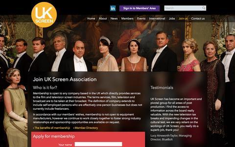 Screenshot of Signup Page ukscreenassociation.co.uk - Join us | UK Screen Association - captured July 21, 2016