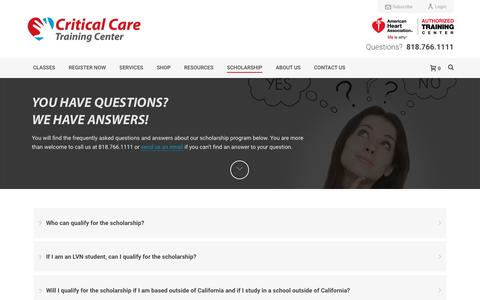 Screenshot of FAQ Page acls123.com - FAQ | Nursing Scholarship | Critical Care | American Heart - captured Nov. 14, 2016