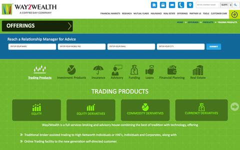 Screenshot of Products Page way2wealth.com - Online Share Trading, Futures and Options, Commodity Trading, Currency Trading - Way2Wealth - captured Jan. 14, 2016