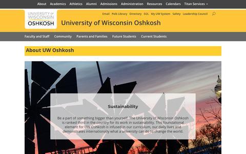 Screenshot of About Page uwosh.edu - About UW Oshkosh - University of Wisconsin Oshkosh University of Wisconsin Oshkosh - captured Sept. 22, 2018