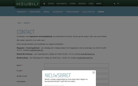 Screenshot of Contact Page meubili.be - Contacteer ons vrijblijvend! - captured Jan. 10, 2016