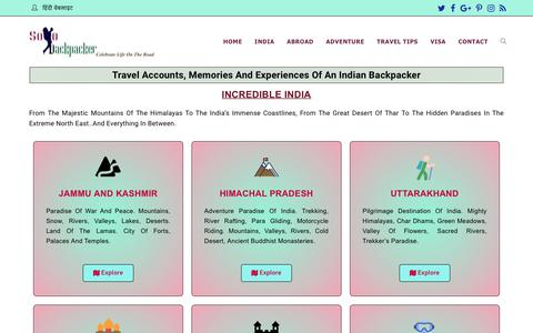 Screenshot of Home Page solobackpacker.com - Solo Backpacker-Travel Accounts, Memories And Experiences - captured Sept. 21, 2018