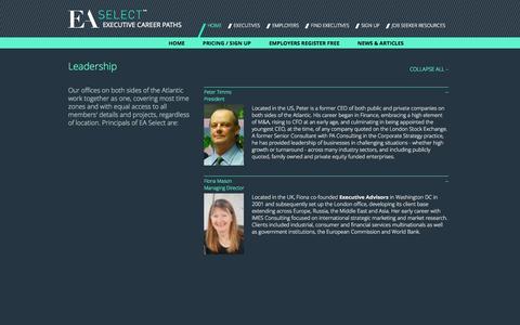 Screenshot of Team Page ea-select.com - Leadership - EA Select - captured Sept. 26, 2014