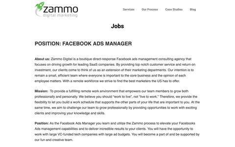 Screenshot of Jobs Page zammodigital.com - Jobs | SaaS Advertising Agency | Zammo Digital Marketing - captured Feb. 8, 2019
