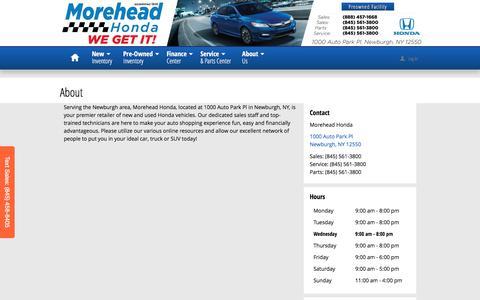 Screenshot of About Page moreheadhonda.com - Morehead Honda | New Honda dealership in Newburgh, NY 12550 - captured Dec. 22, 2016