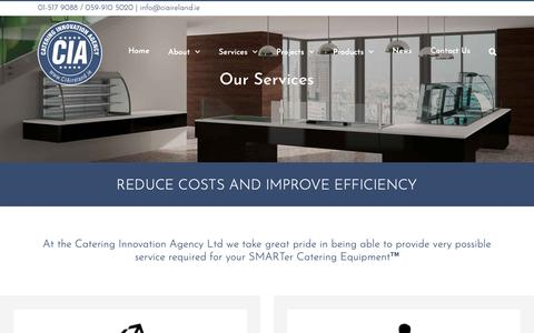 Screenshot of Services Page ciaireland.ie - Smart Catering Equipment | Catering Innovation Agency - captured Nov. 10, 2018