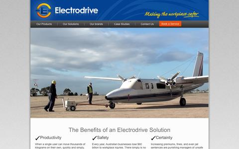 Screenshot of Home Page electrodrive.com.au - Welcome to Electrodrive. Your move-safe solution! Choose from Bed Movers | Tugs | Binlifters | Trolleys - captured Sept. 29, 2014