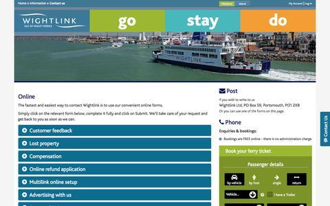 Screenshot of Contact Page wightlink.co.uk - Contact us - Wightlink Ferries - captured Oct. 1, 2015