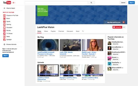 Screenshot of YouTube Page youtube.com - LasikPlus Vision  - YouTube - captured Oct. 22, 2014