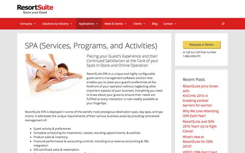SPA - Services, Programs, and Activities | ResortSuite